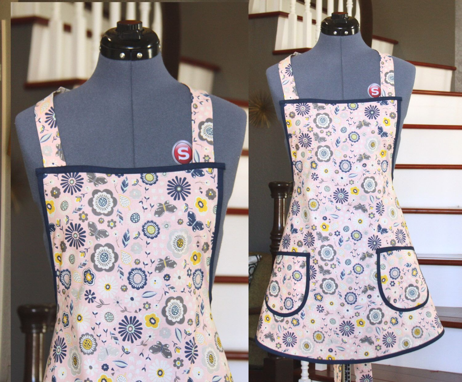 White apron etsy - Handmade Aprons Pink Aprons For Women Flowers Butterflies Pink Navy Gray White Apron Aprons For Sale Kitchen Apron Hortencia Apron