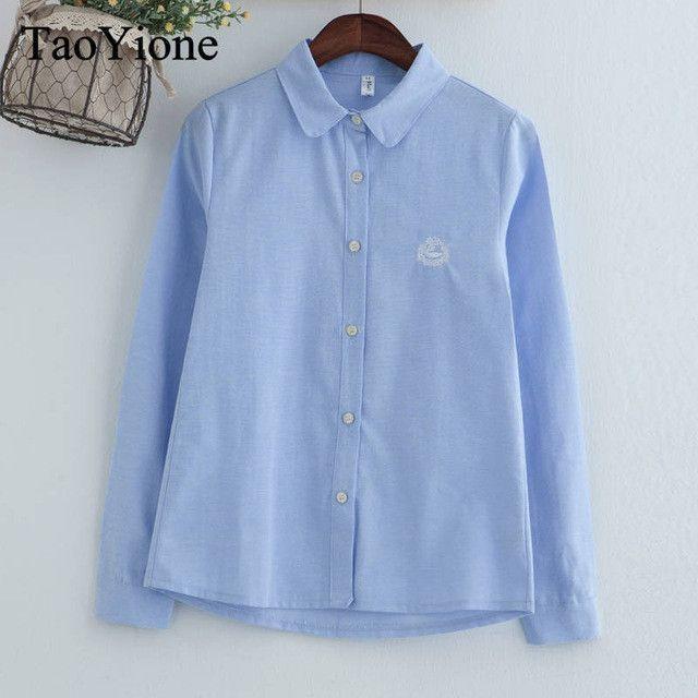 2017 Women Blouses Fashion Embroidery Blouse Long Sleeve Office Shirts Casual Tops Shirt blusas mujer de moda camisas femininas