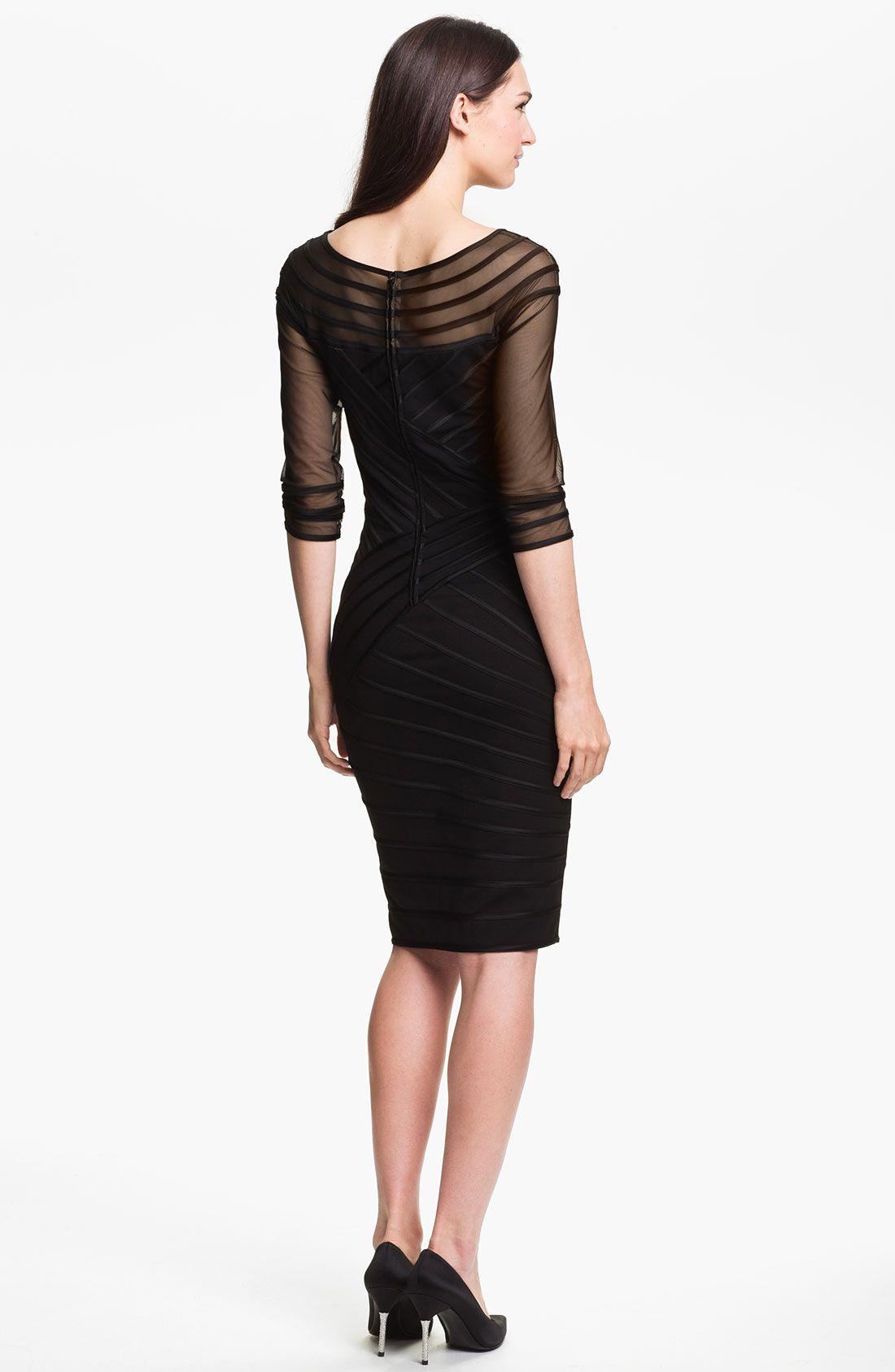 Tadashi shoji sheer sleeve satin trim sheath dress in black lyst