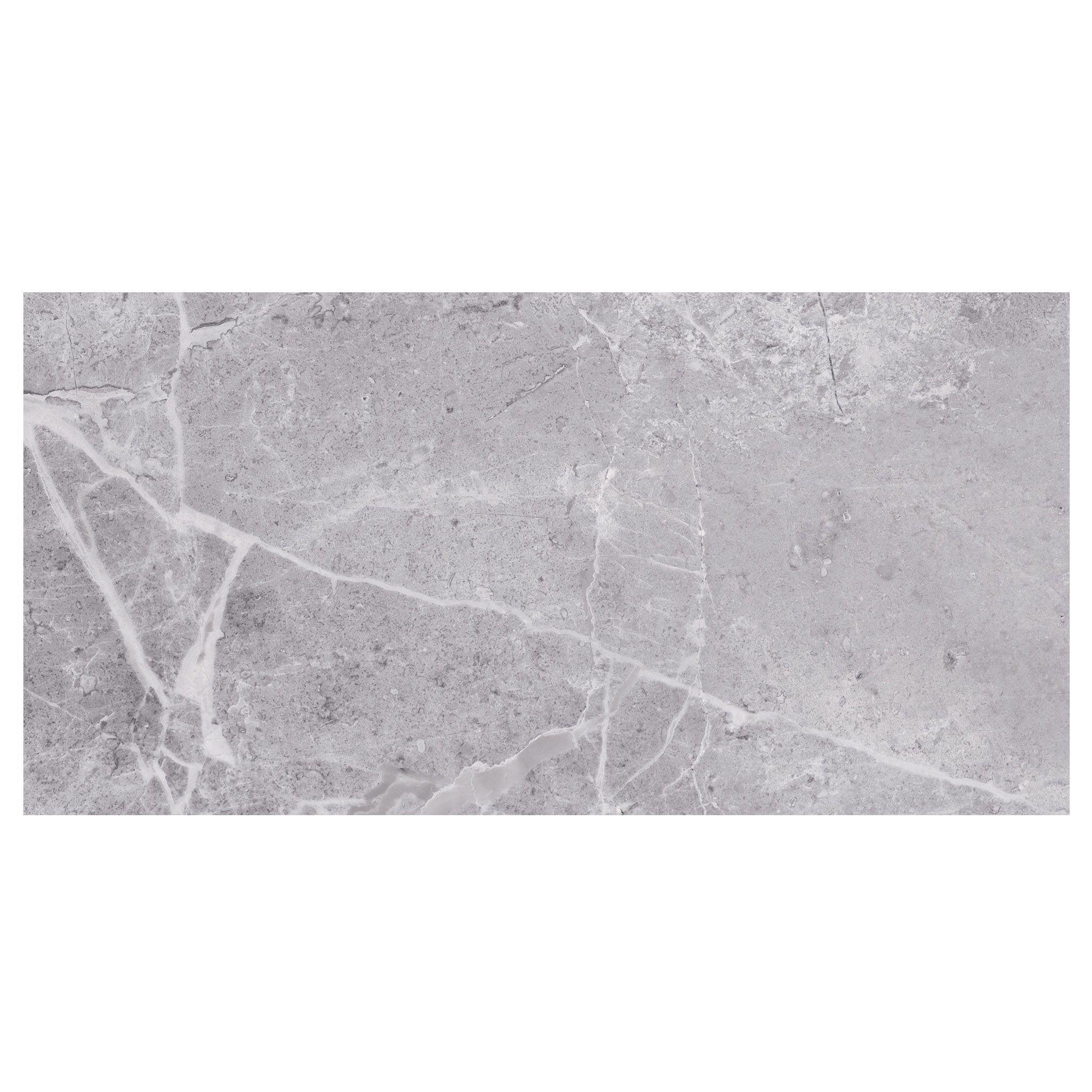 Urban White Stone Effect Ceramic Wall Floor Tile Pack: Silverthorne Silver Marble Stone Effect Ceramic Wall Tile