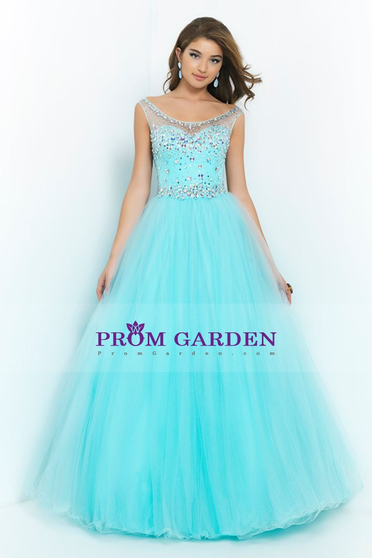 2015 hot selling bateau floor length A-line tulle prom ...
