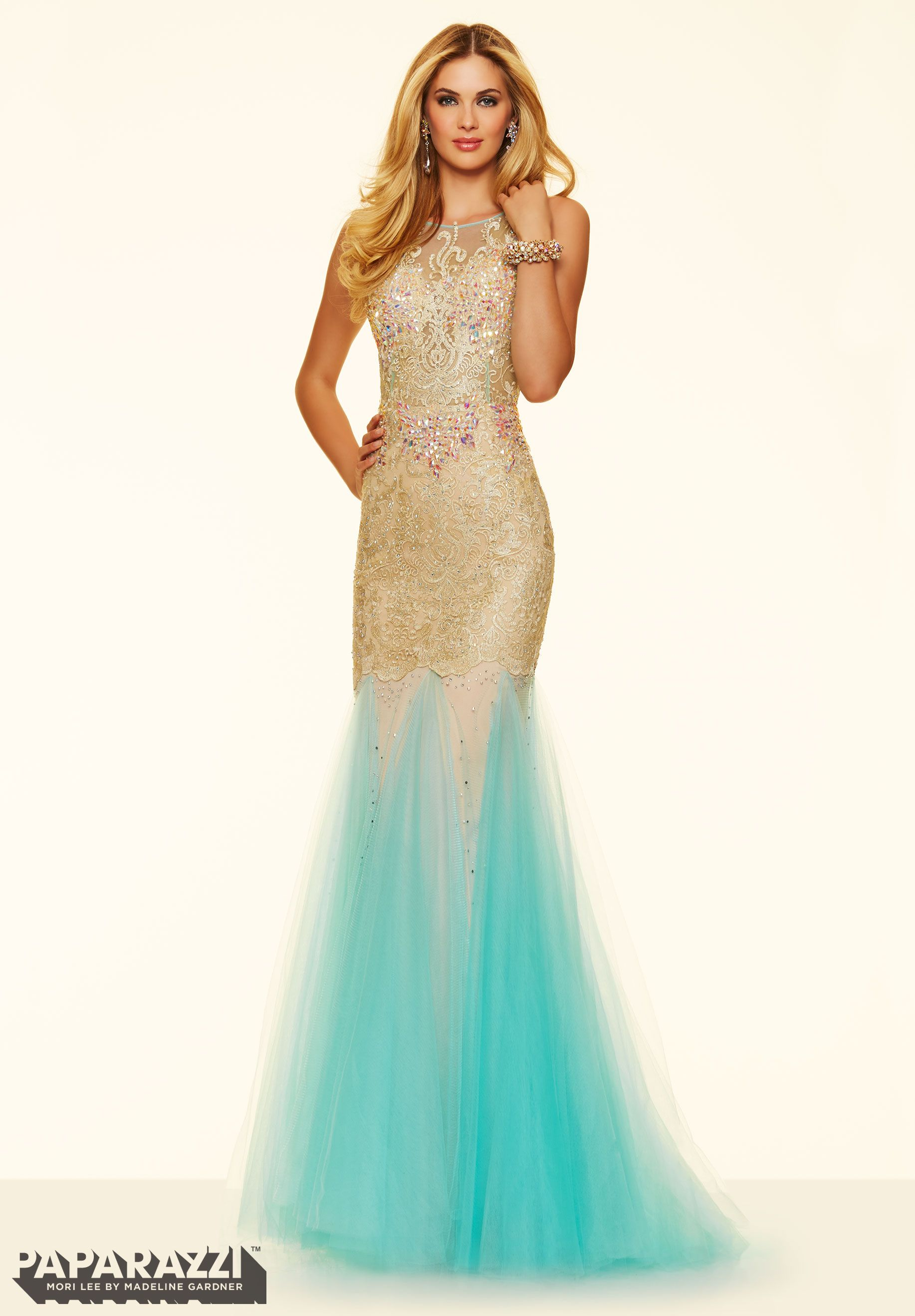 Prom Dress 98017 Lace and Beading on Net with 2 Tone Fly Away Skirt ...