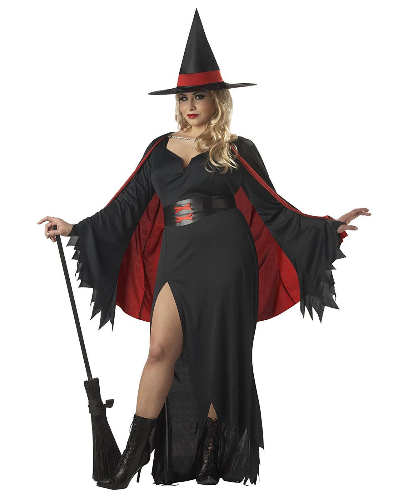 Adult Cape Costume and Big Hat with Spiderweb
