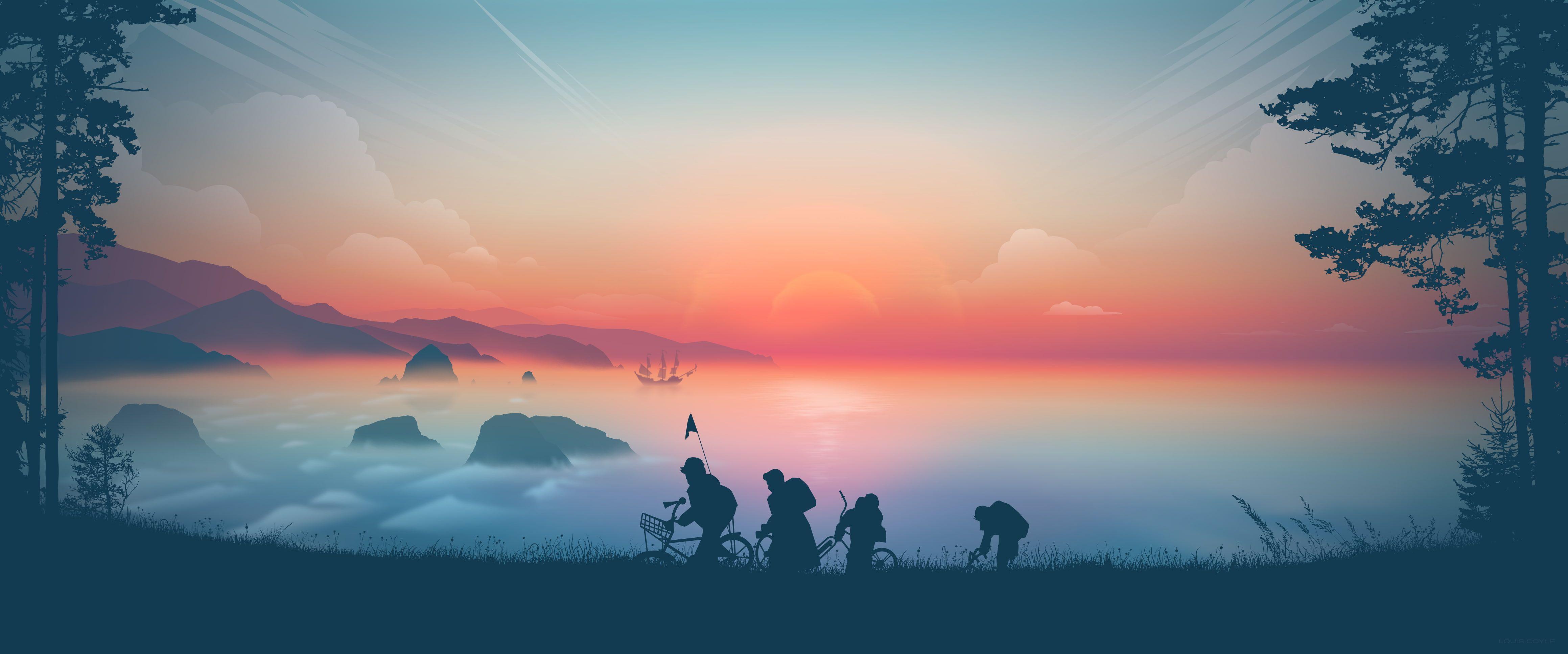 Artwork Digital Art The Goonies Sunset Clouds Mist Pirate Ship Trees Gradient Illustration Landsc Imac Desktop Dual Monitor Wallpaper Android Wallpaper