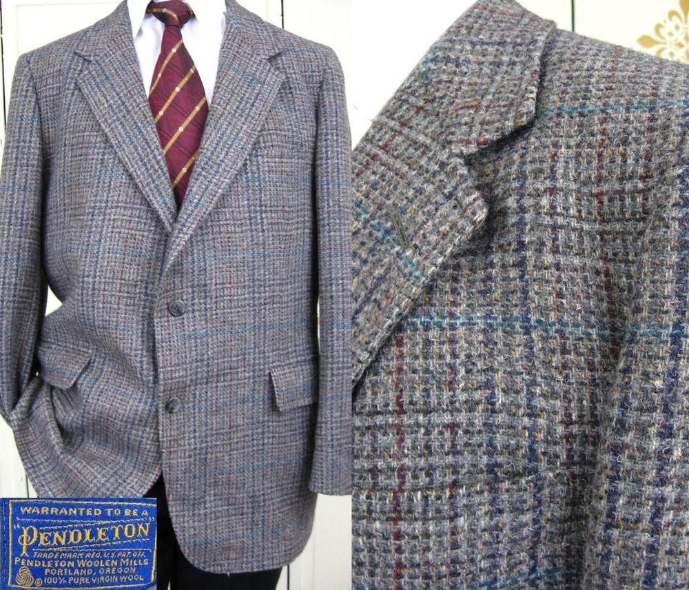 PENDLETON Gray Plaid Wool Heavy TWEED Vintage 1970s MOD Dandy 2 Button Blazer Sportcoat Jacket 40R