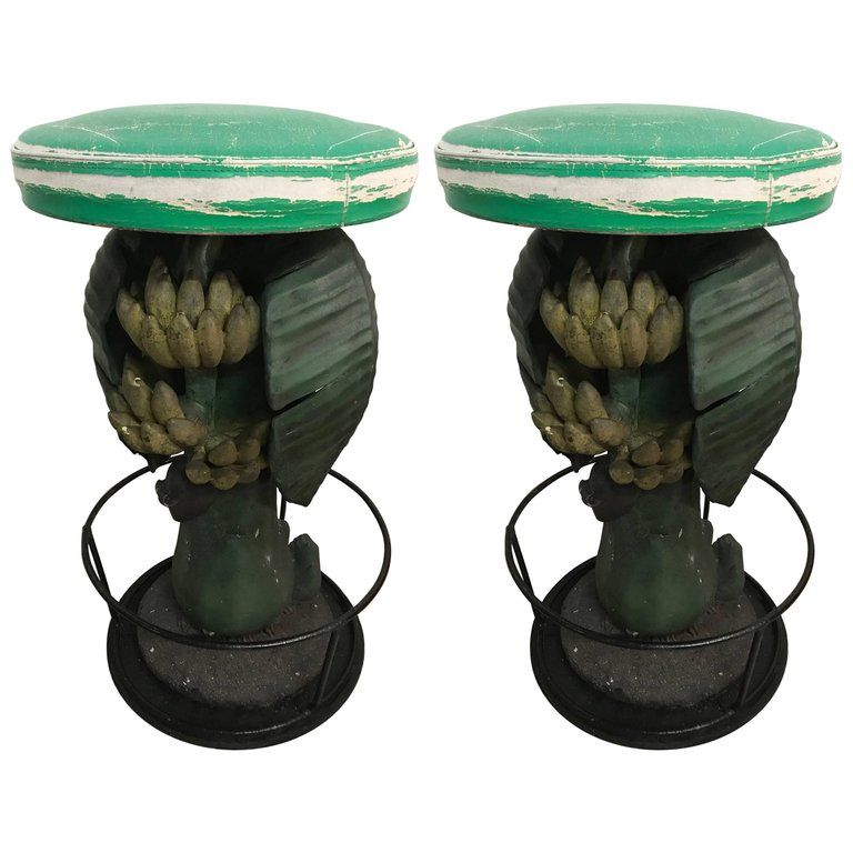 Pair Of Maitland Smith Tropical Banana Tree Barstools Maitland Smith Bar Stools Modern Decorative Boxes