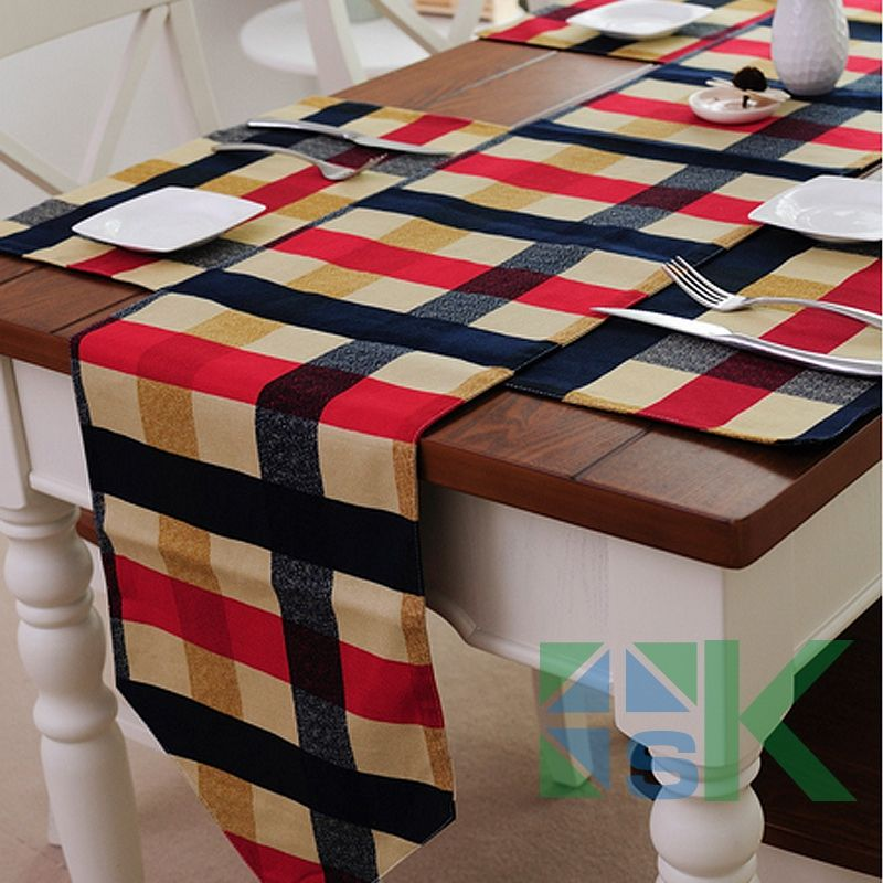 Fashion edinburgh grid style table runner party decoration events for wedding party banquet decoration