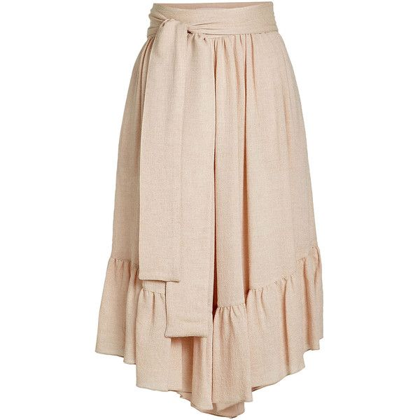 See by Chloé Waist Tie Culottes (€239) ❤ liked on Polyvore featuring pants, capris, pink, pink pants, tie waist pants, boho chic pants, boho style pants and boho trousers