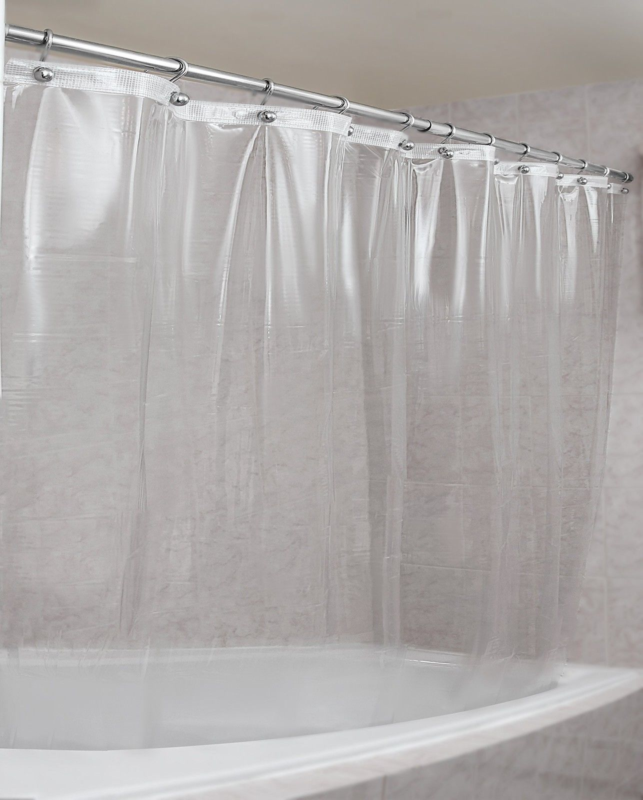 Black Fabric Shower Curtain Waterproof Mold Mildew Resistant East Care Curtains
