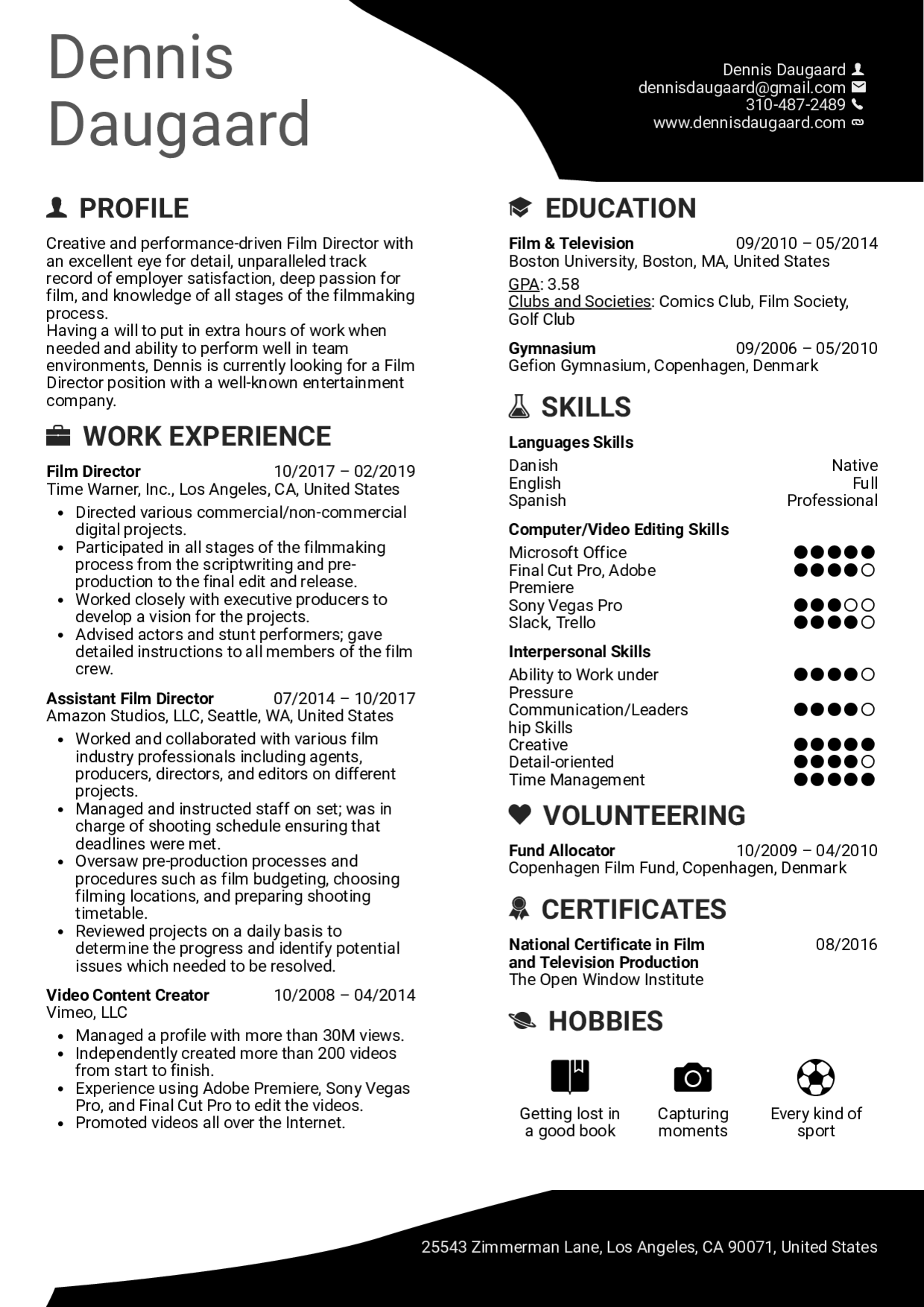 Best Cv Layout Template Modern New Graphic Designer Resume Template Film Director Resume Examples