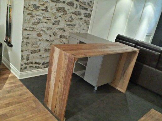 Comptoir bar en bois de grange conception et fabrication - Fabriquer comptoir bar ...