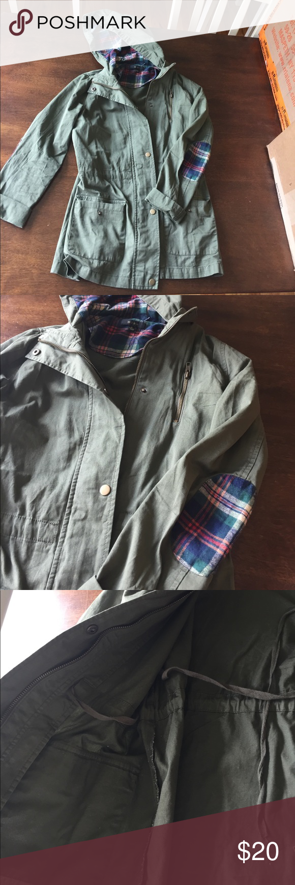 Olive cargo jacket Lightweight olive green cargo jacket with adorable flannel lined hoodie and elbow patches! Interior has drawstring for a cinched waist look, lightweight and perfect for chilly spring days or nights! Worn once in excellent like new condition Jackets & Coats Utility Jackets