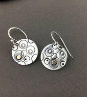 Silver Earrings, Hand Stamped, Geometric Earrings, Bronze Earrings, Small Earrin…