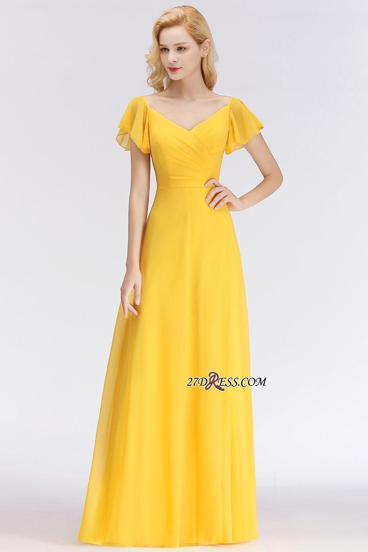 Floorlength yellow shortsleeve cheap simple bridesmaid dress item