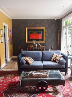 Blue Sofa Red Carpet | Eclectic Living Room, Blue And White Living Room, Living Room Designs