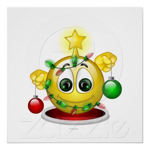 Xmas Tree Print From Zazzle Com Smiley Emoji Christmas Emoticon