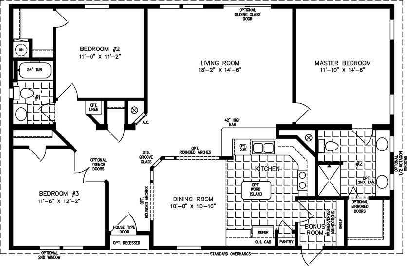 The tnr 44810w manufactured home floor plan jacobsen for 2000 sq ft prefab homes