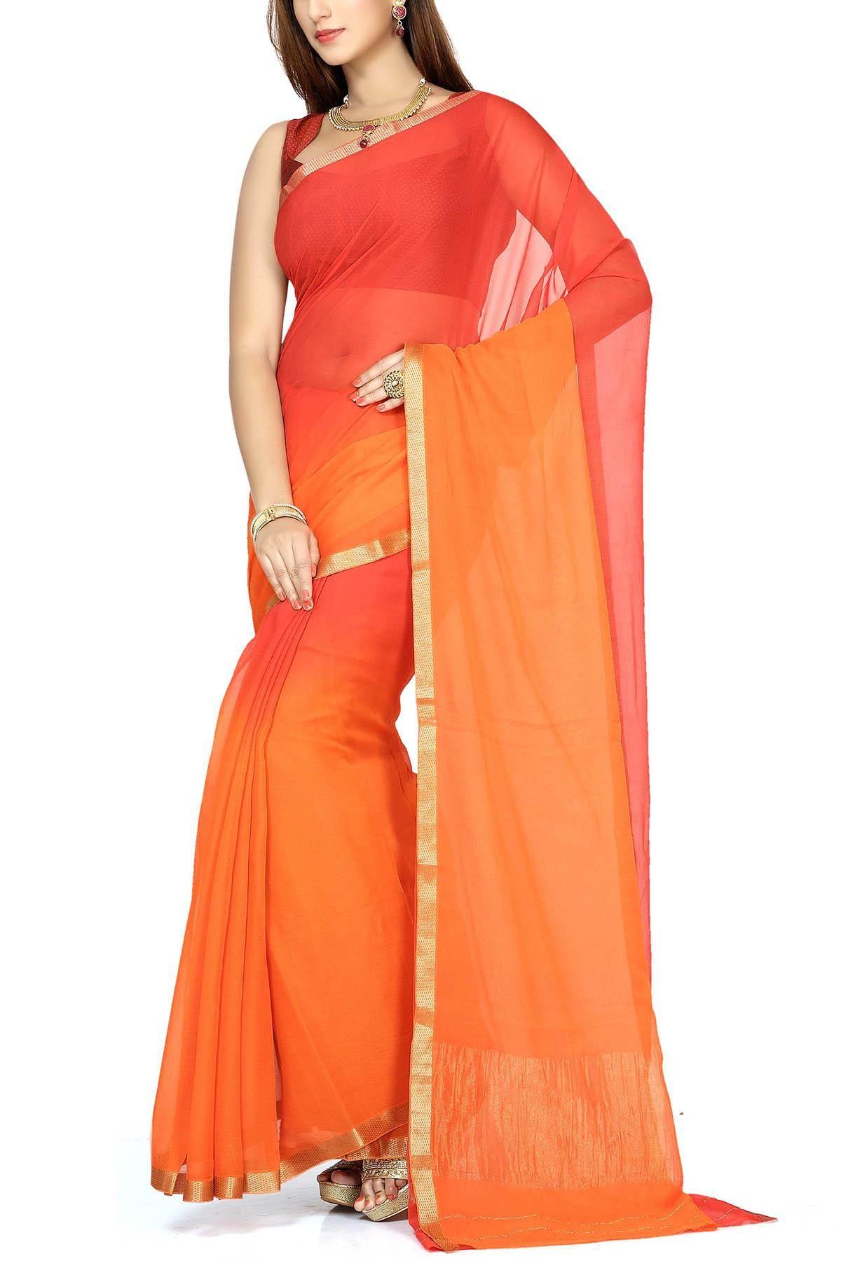 23ed5d6396 Scarlet & Bright Orange Shaded Pure Chiffon Zari Border Saree ...