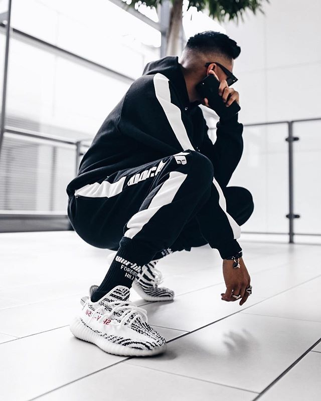 Street Style - Yeezy 350V2 U0026quot;Zebrau0026quot; | All Things Good | Pinterest | Hypebeast Man Outfit And Men ...