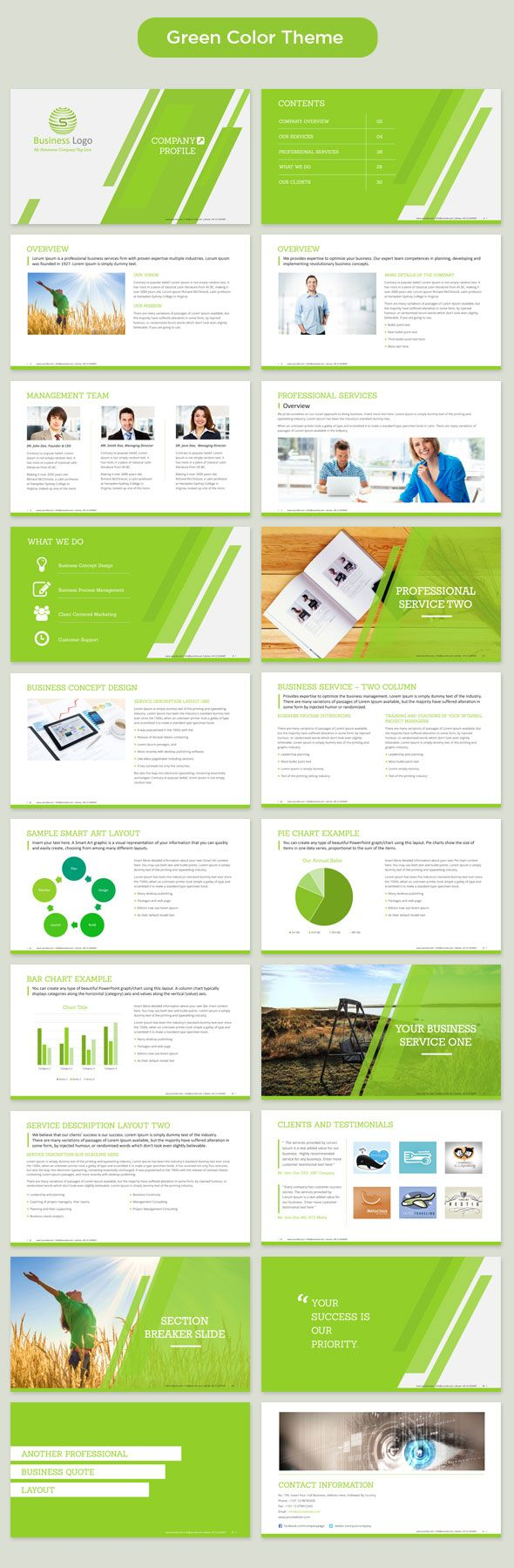 Corporate Profile Powerpoint Template Green Company Profile Template Company Profile Powerpoint Templates