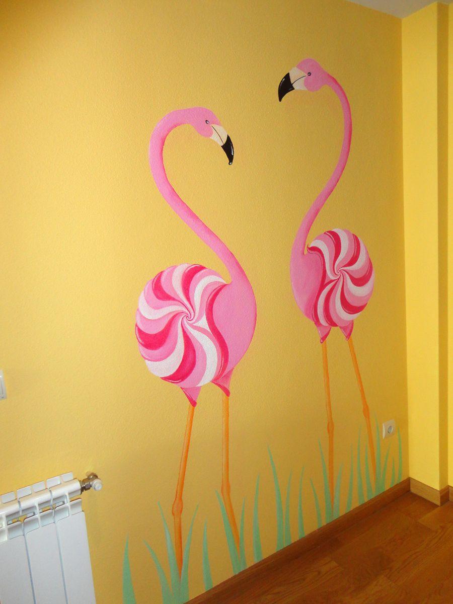 Decoracion de paredes con flamencos pintados dise os for Disenos para pintar paredes