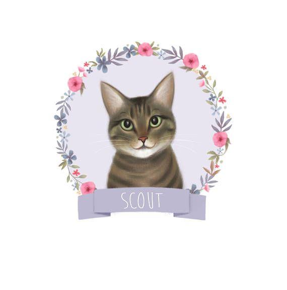 Custom Pet Portrait Pet Illustration Cat Drawing Your Cat Cartoon ...