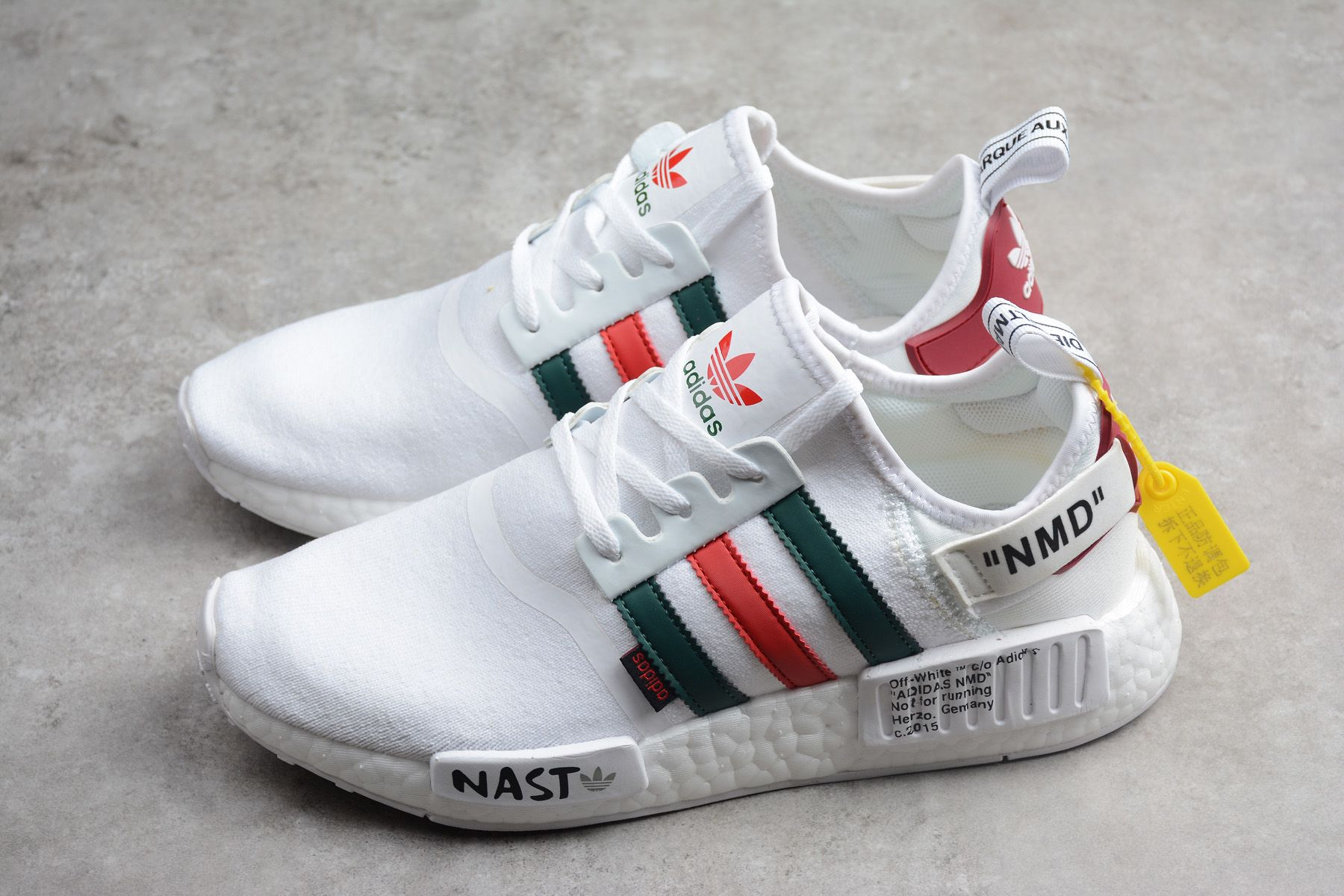 Off White X Adidas Nmd R1 White Black Green Red New Release