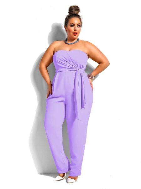 Plus Size Strapless Jumpsuit -Lavender - Monif C | Plus Size ...