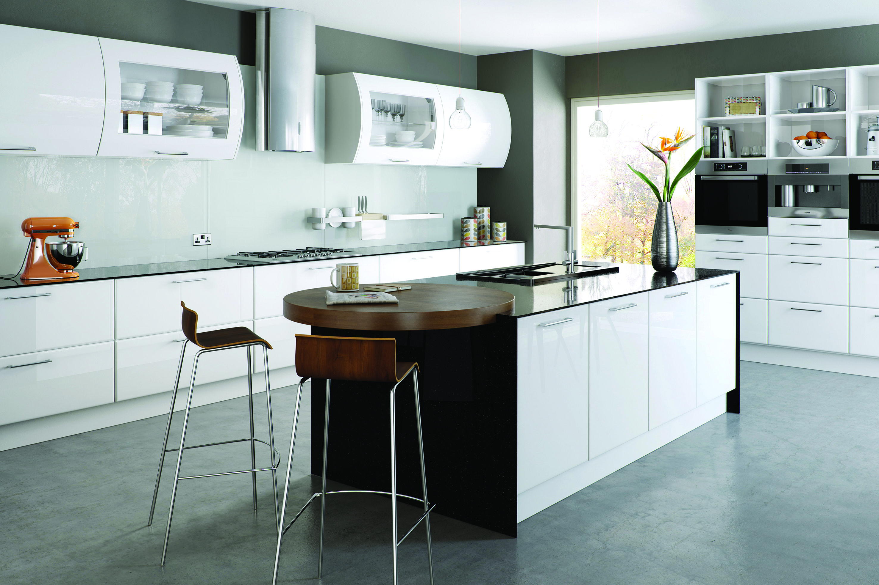 High Gloss White Kitchen. Modern Clean Space With Central Island ...