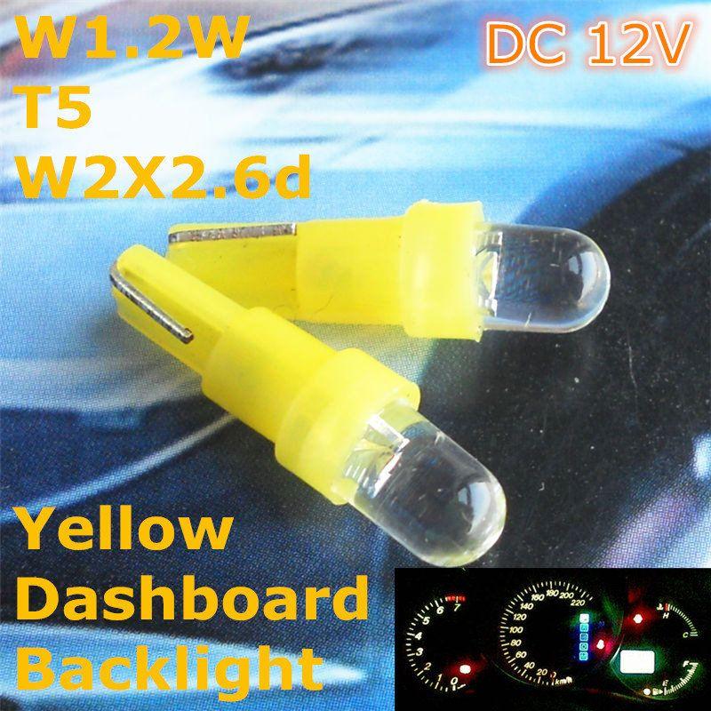 12v Led Yellow Color Car Bulb Lamp T5 5mm Spot Lamp For W1 2w W2 3w W2x2 6d Dashboard Ashtray Signal Light Car Bulbs Car Lights 12v Led