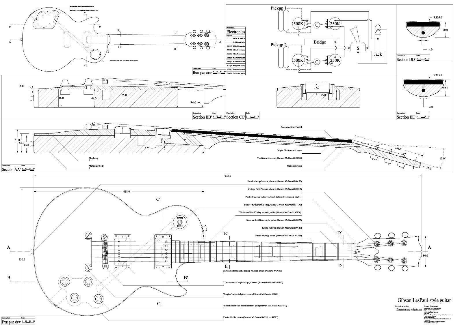 Gibson SG  electric GUITAR PLANS  make guitar actual size