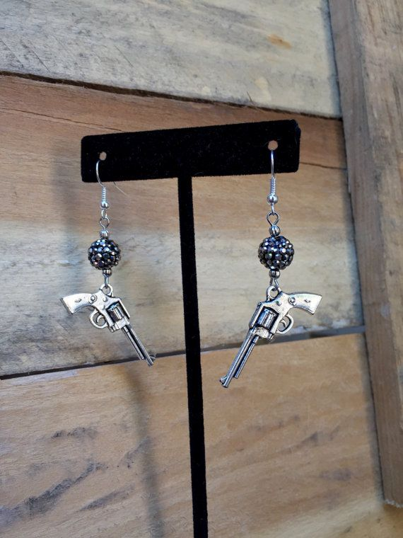 Gun Earrings Pistol Jewelry Silver Rustic by TheBadaBling on Etsy