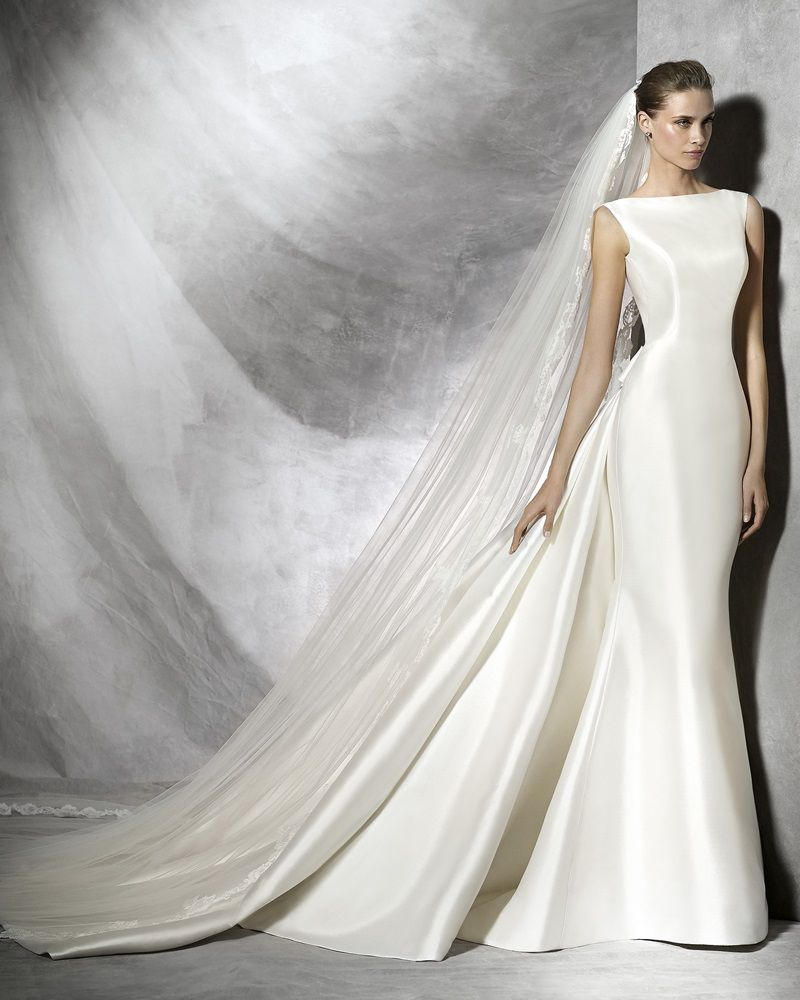 Pronovias - Bateau Neckline Mermaid Wedding Dress in Mikado Silk ... bd148e140e