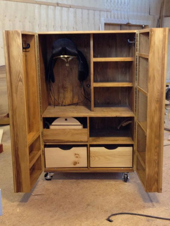 Rolling tack box cabinet for equestrian sports by mikin on for Tack cabinet plans