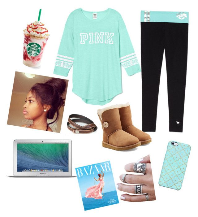 """Coffee date☕️"" by elizabethnutt ❤ liked on Polyvore featuring Victoria's Secret, UGG Australia, Uncommon, NOVICA and Apple"