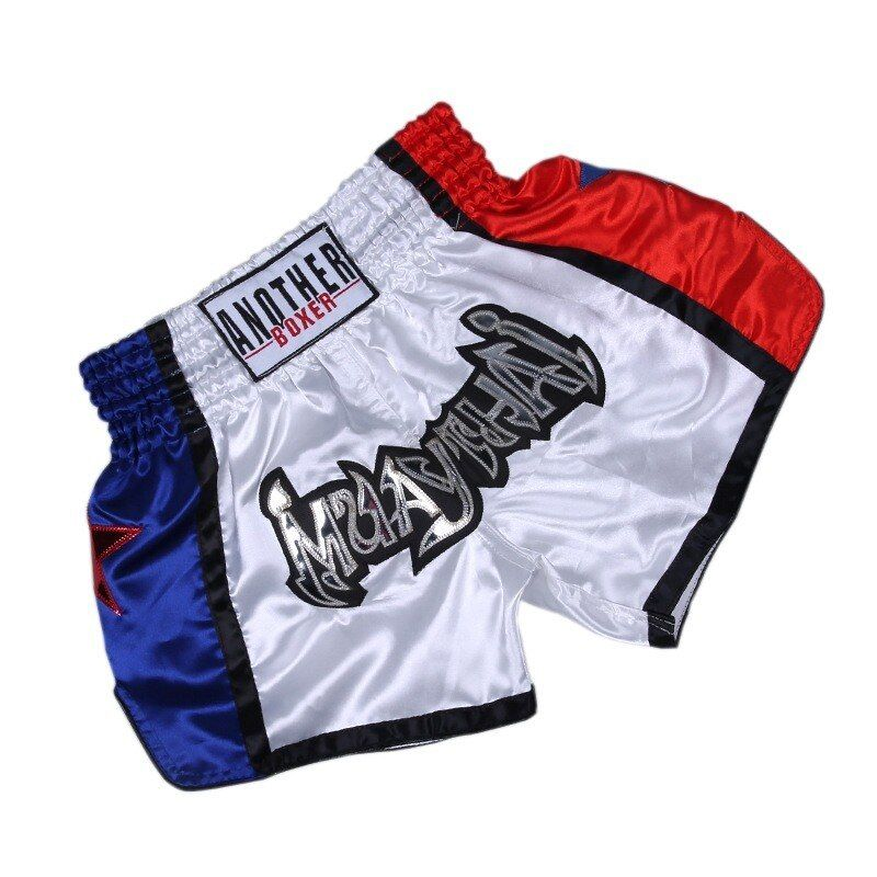 MUAY THAI KICK BOXING SHORTS SPORT WEAR FIGHTING WHITE-GRAY POPULAR MEN//WOMEN