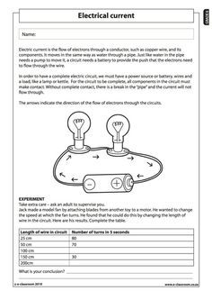 Electrical current (1) - Natural Science Worksheet (Grade 6 ...