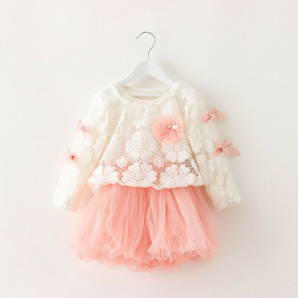 New Cute Toddler Kids Baby Long Sleeve Bow Floral Dress Princess Party Dresses Fashion Clothing S Baby Girl Princess Dresses Girl Outfits Girls Tutu Dresses