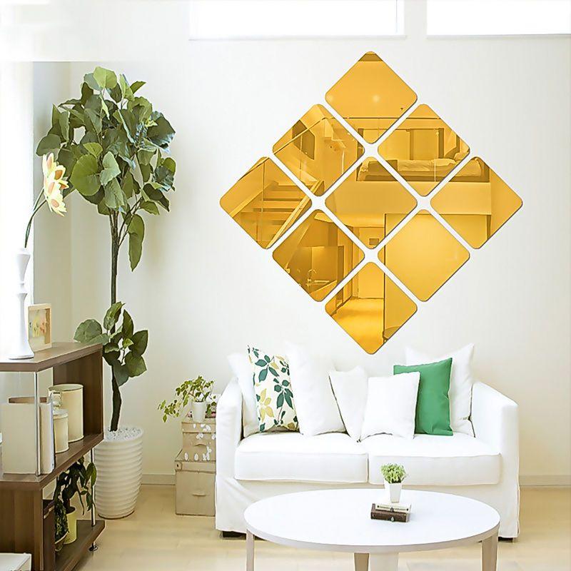 1pc 3d espejo cuadrado vinilo desmontable de pared decal for Decoracion con espejos cuadrados