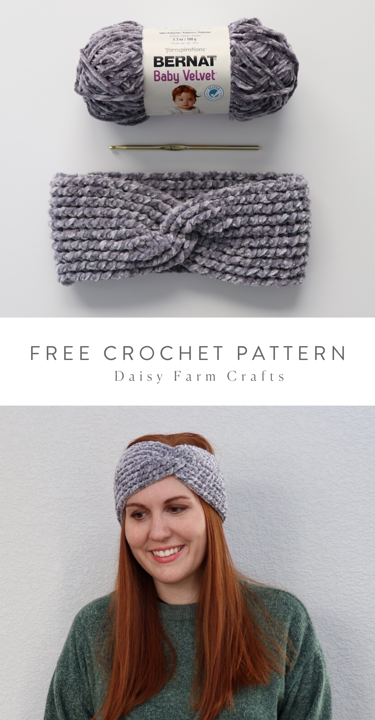 Free Pattern - Crochet Ribbed Velvet Twist Headband