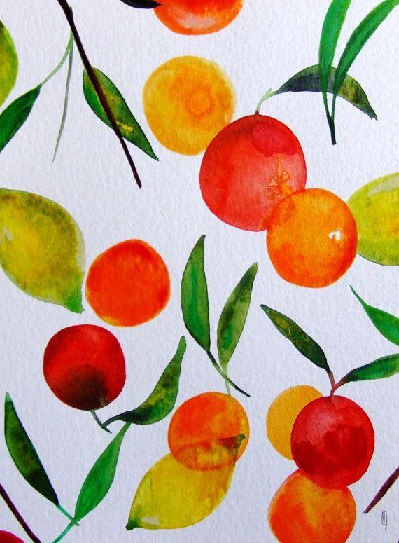 Aquarelle Originale Agrumes Nature Morte Fruits Decor Cuisine