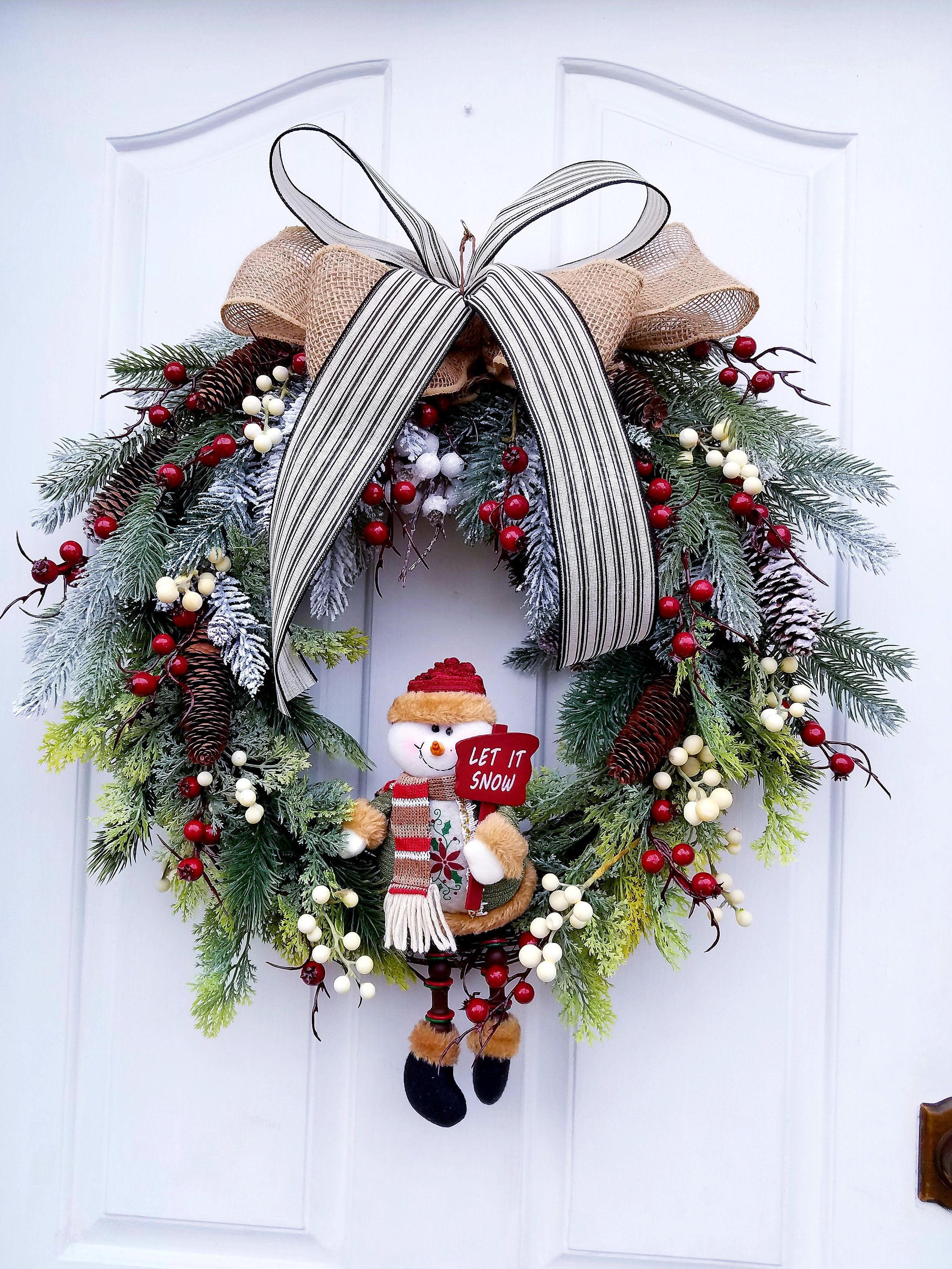 Snowman Wreath For Front Door Winter Door Decor Winter Door Decorations Winter Wreath Wreaths For Front Door