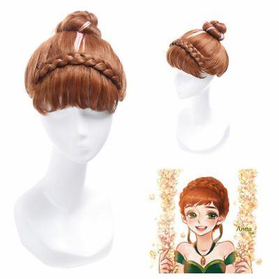 Photo of (Ad) Anime Frozen Princess Coronate Brown Pink Highlight Hair Bun Cosplay Wigs