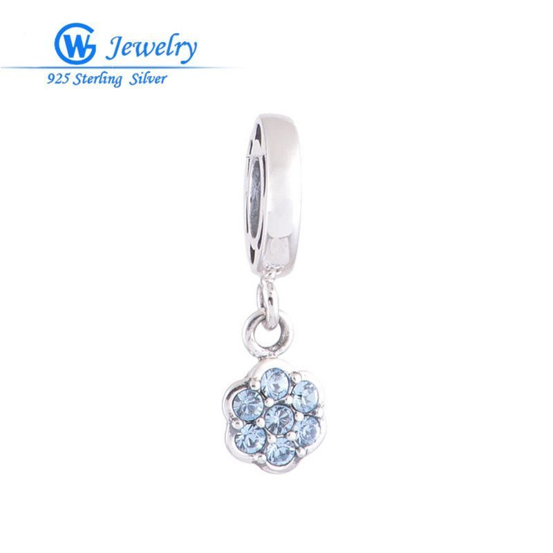 2pcs/lot en alibaba 925 real silver bracelet fits love blue flower charm bracelet fin en argent for couples beads s073