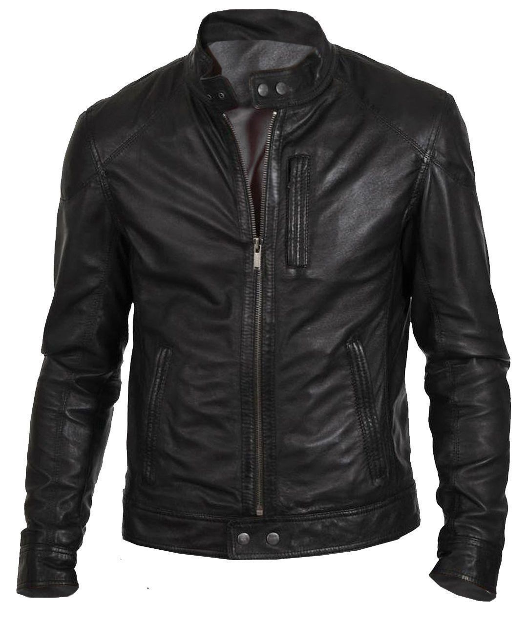 The Leather Factory Mens Lambskin Leather Biker Jacket with Short Stand Collar