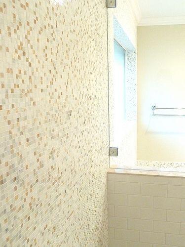 Renovation #2 - master bathroom, frameless glass shower with marble