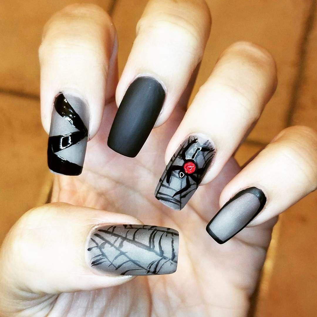 Картинки паутины на ногтях