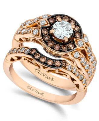 Le Vian Chocolate and White Diamond Engagement Ring Set in 14k