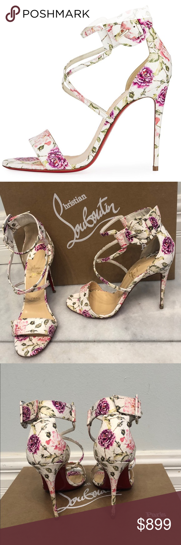 a8709bb25c Christian Louboutin Choca Floral Snake Sandals Limited edition Choca Floral  Snake Red Sole Sandals worn once