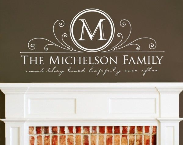 No Fireplace But This Would Look Good Above The Entertainment - Family monogram wall decals